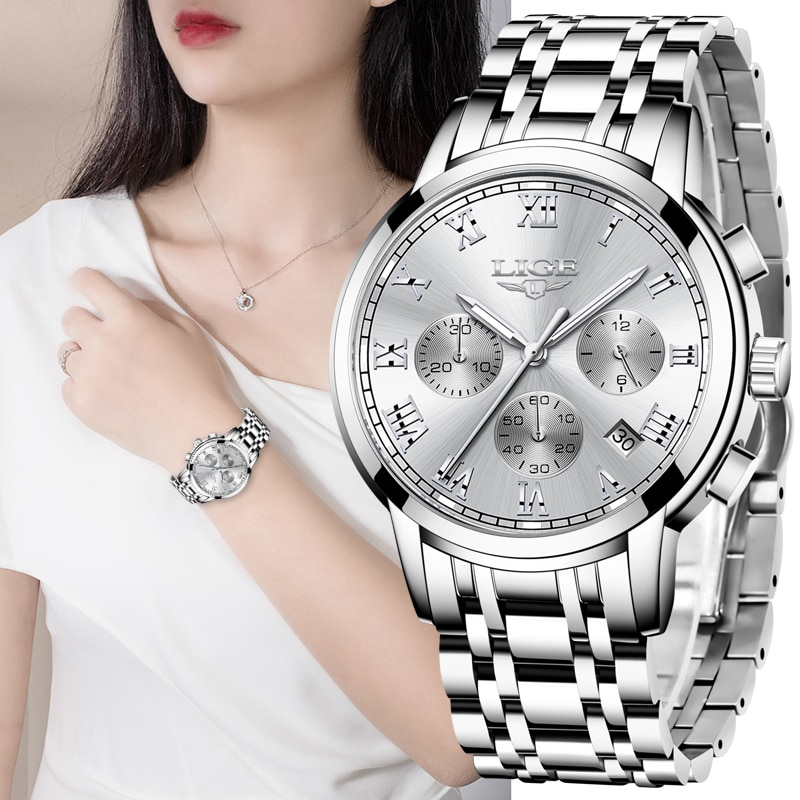 LIGE 2021 New Fashion Women Watches Ladies Top Brand Luxury Creative Steel Women Bracelet Watches Fe