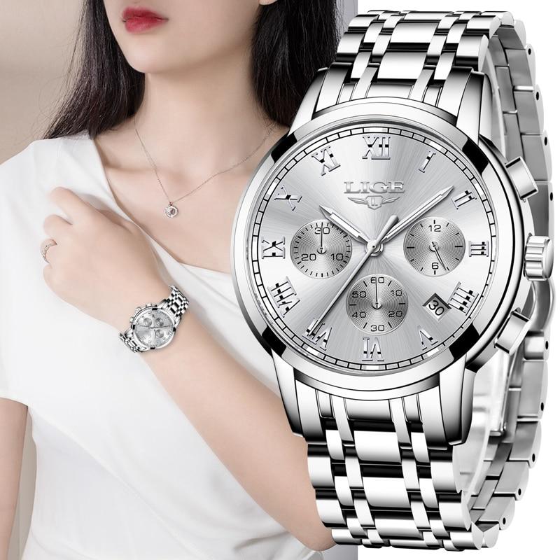 LIGE 2021 New Fashion Women Watches Ladies Top Brand Luxury Creative Steel Women Bracelet Watches Female Quartz Waterproof Watch