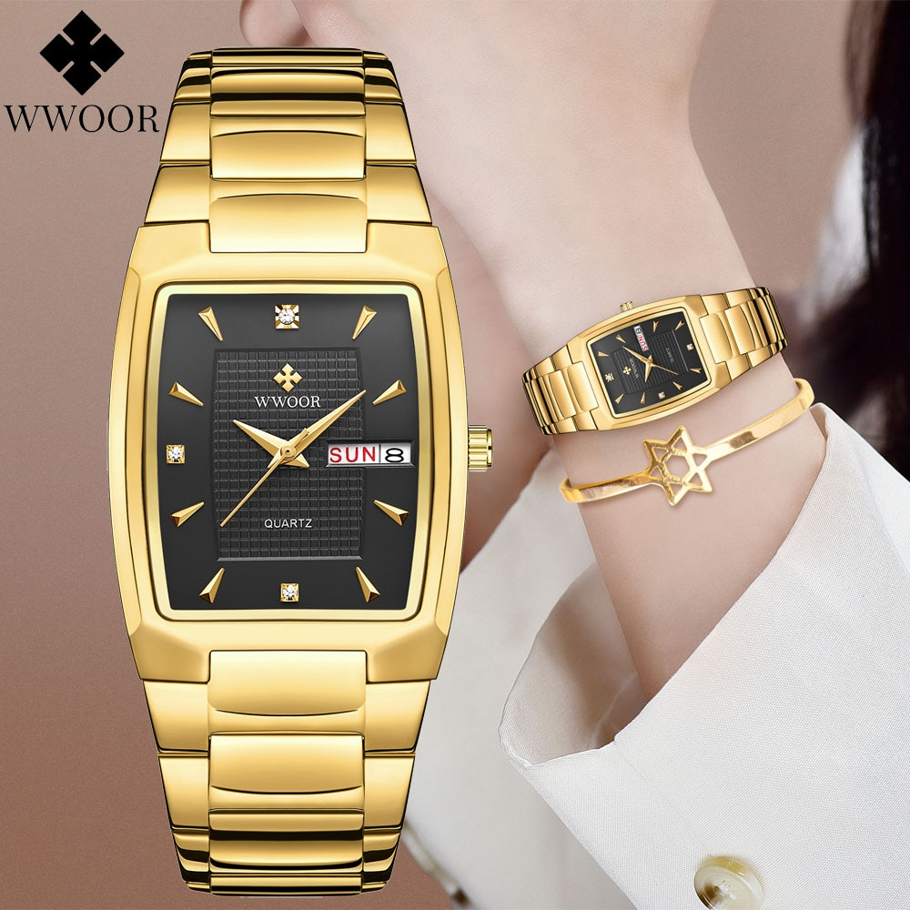 cheap yellow gold plated ladies watch luxury fashion brand stainless steel diamand wrist watch bracelet gifts for women watch Women Watches 2021 Fashion Luxury Brand WWOOR Quartz Watch Waterproof Stainless Steel Ladies Girls Ladies Wrist Watch for Female