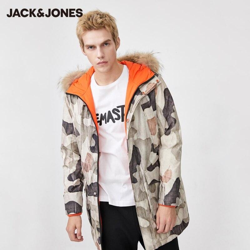 JackJones Men's Down Jacket Male Camouflage Reversible Mid-length Hooded Down Jacket   219412535