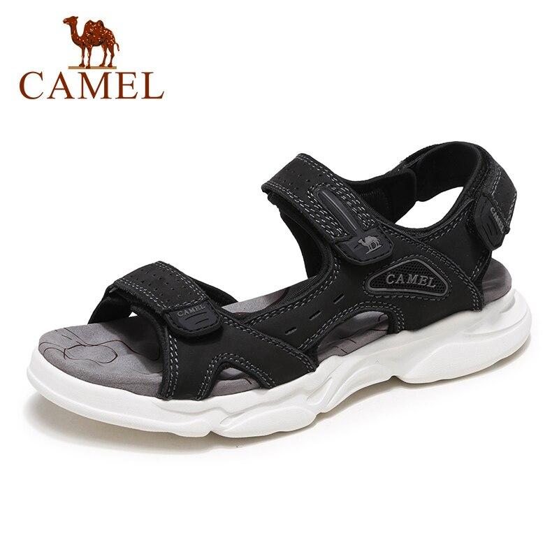 Camel sapatos masculinos 2020 novo verão velcro de couro leve moda ao ar livre selvagem confortável sandálias masculinas praia sapatos casuais