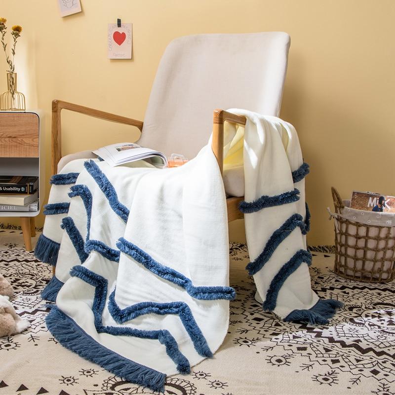 Tassles البطانيات أريكة متماسكة رمي بطانية الخردل الأزرق لينة مهدب بطانية السفر 130x160 سنتيمتر المنزل أريكة كرسي الأريكة السرير السجاد