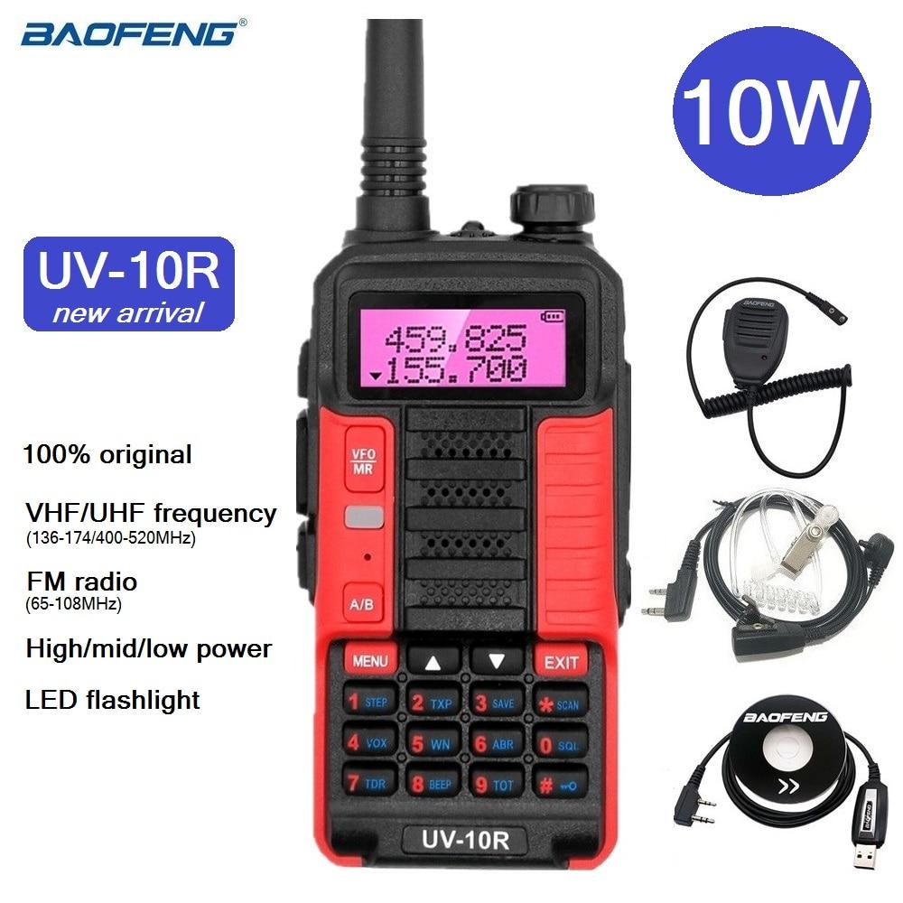 2021 New Baofeng UV-10R Powerful Walkie Talkie 10W VHF UHF Amateur CB Ham Radio Station UV-5R Portable Radio Transceiver Hunting