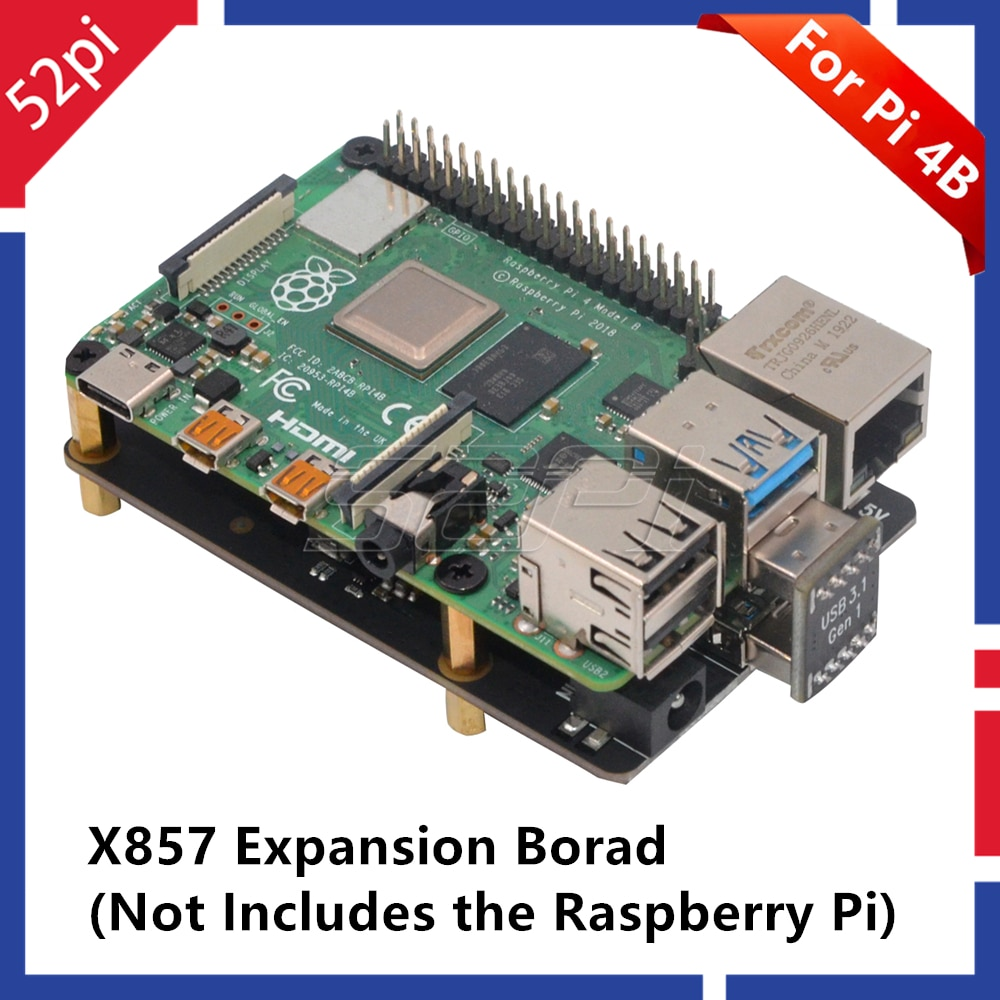 52Pi New! Raspberry X857 V1.0 mSATA SSD Shield Expansion Board for Raspberry Pi 4B ( 4 Model B )