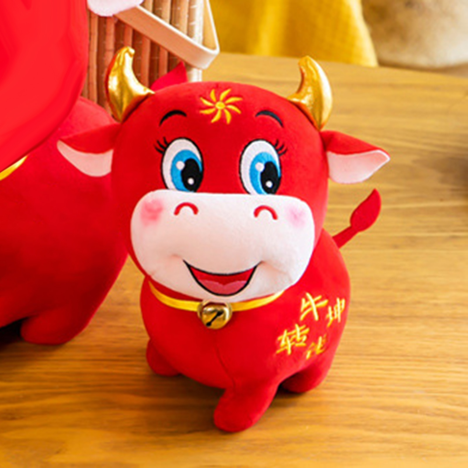 Chinese Zodiac Ox Cattle Plush Toys Red Milk Cow Mascot Stuffed Doll Pendant Toy Home Decration Gift