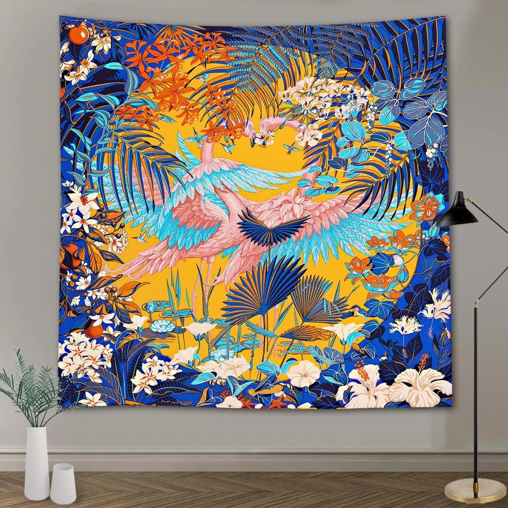 Цветной Фэнтези Фламинго гобелен настенный гобелен с тропическим растением с принтами психоделических морских животных хиппи гобелены до...