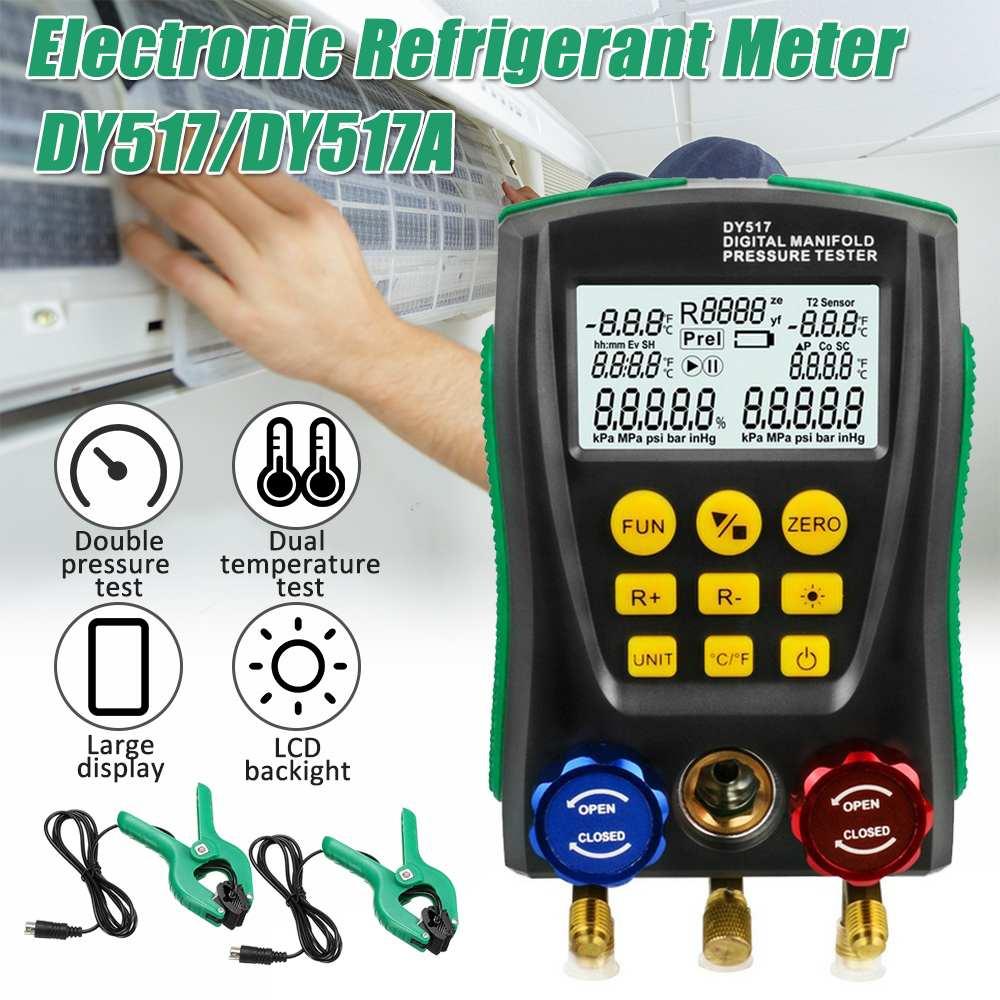 Manómetro digital de colector de refrigeración DY517, probador de colector de presión de vacío, medidor de temperatura HVAC