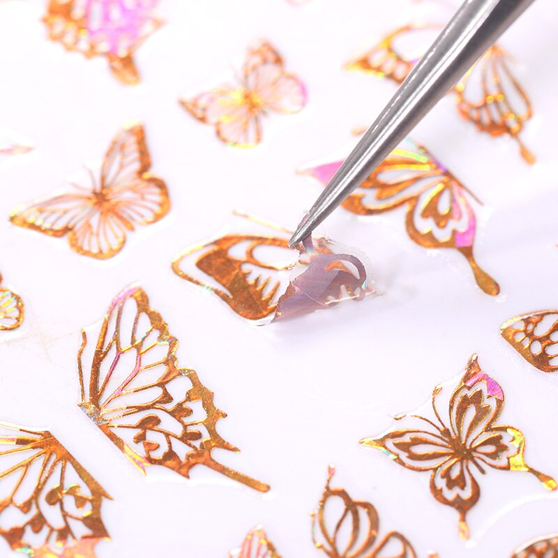 Holographics 3D Butterfly Nail Art Stickers Adhesive Sliders Laser Color Gold Silver DIY Nail Transfer Decals Foils Wraps  - buy with discount