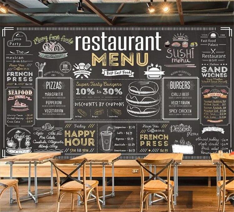 Vintage Menü Bill Tapete Wandbild für Kaffee Cafe Restaurant Hotel Hintergrund 3D Wandbild Wand papier Aufkleber