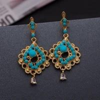 wando gold color earrings for women girl ethiopia wedding jewelry flower earrings wedding bride flowers earrings