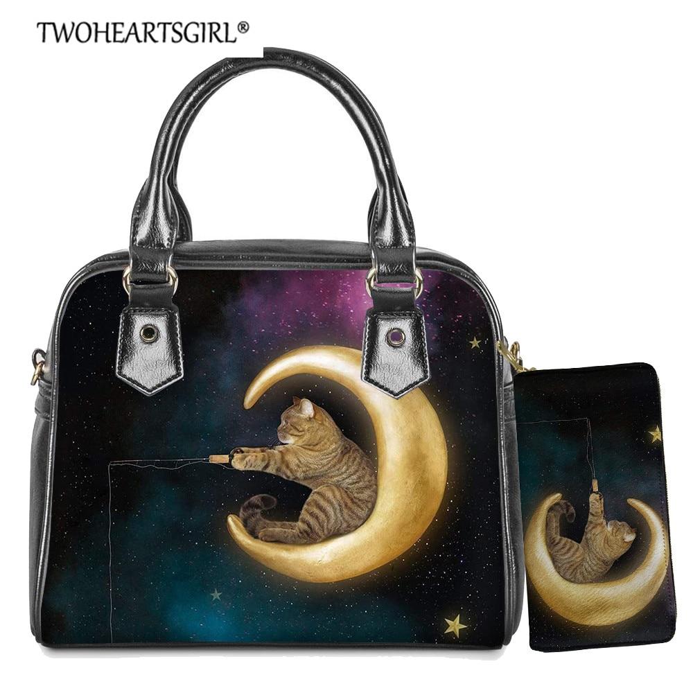 Bolsas de Ombro para Senhora à Moda Mensageiro para Mulheres Twoheartsgirl Gato Bonito Bolsa Crossbody Galaxy Imprimir Pequeno Terno 2 Pçs – Set