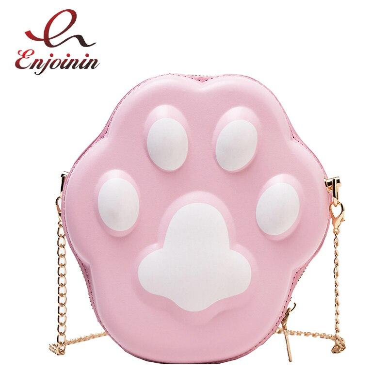 Fun Cat Paw Design Young Girl Shoulder Bag Purses and Handbags Crossbody Chain Bag for Women Funny Bolsas Leather Clutch Bag