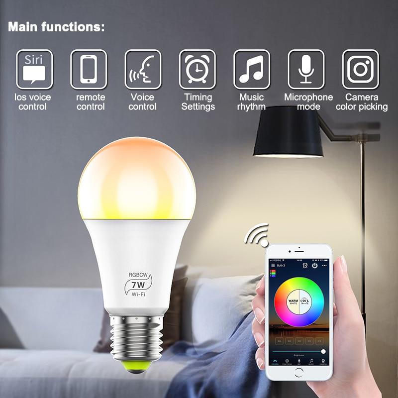 Bombilla led inteligente Wi-Fi 4,0 bombilla inteligente para el hogar 7W E27 bombilla LED inteligente temporizador voz podría cambiar el Color por la aplicación del teléfono