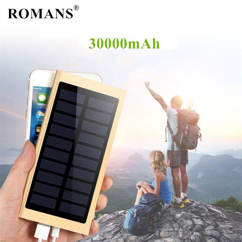 For Xiaomi mi iphone redmi Ultra-thin Solar Power Bank 30000mah External Battery powerbank Portable Solar Charger poverbank