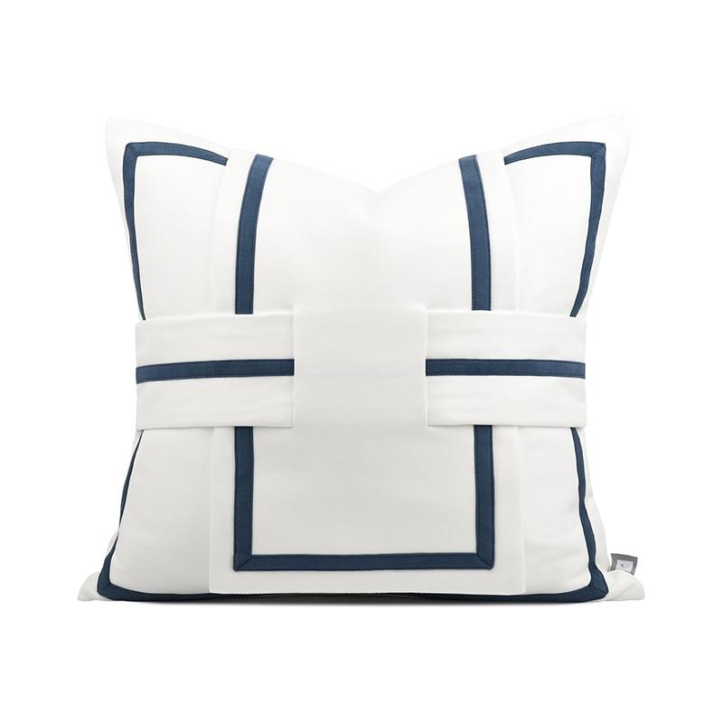 الصلبة الأبيض منقوشة غطاء وسادة المنزل ديكور غرفة نوم المخدة الفاخرة بسيطة القطن رمي ساحة المخدة 45x45cm