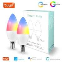 Tuya     ampoule intelligente Wifi LED E12 E14 RGB   W   C  lumiere reglable  telecommande  fonctionne avec Alexa Google Home Assistant