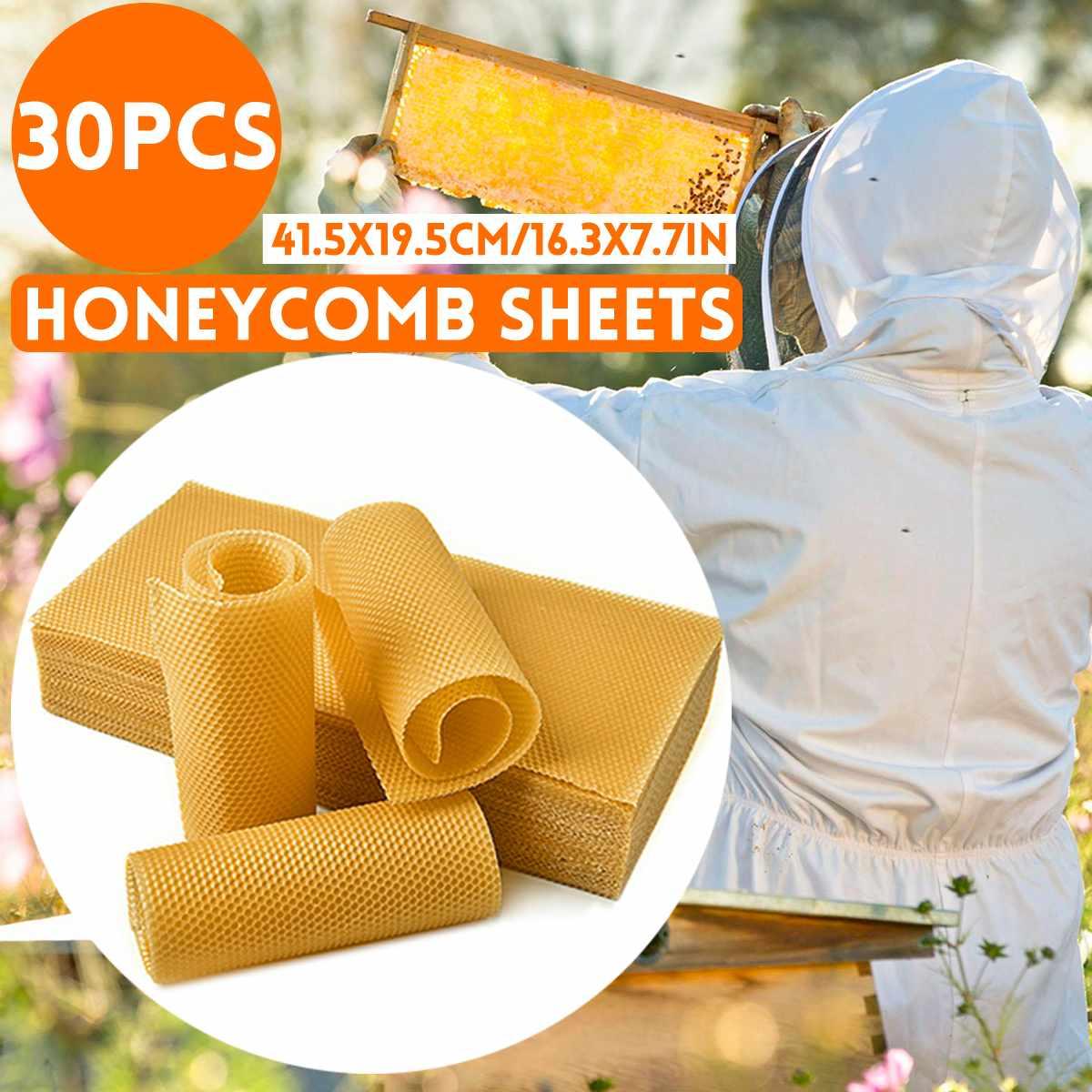 30 Uds., 415x195mm, panal, cera de abejas, Base de colmena, marcos de cera, hojas Base, peine de abeja, marco de miel, hoja de cera de abejas
