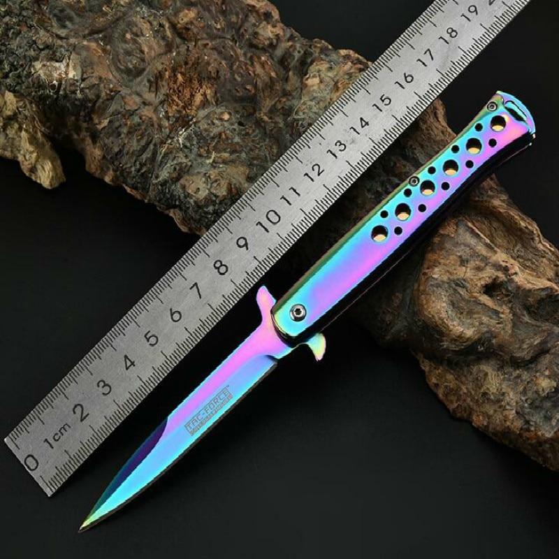 ¡Gran calidad! Cuchillo de caza plegable con mango de acero inoxidable, cuchillo de bolsillo de apertura rápida para camping, cuchillo de supervivencia para exteriores