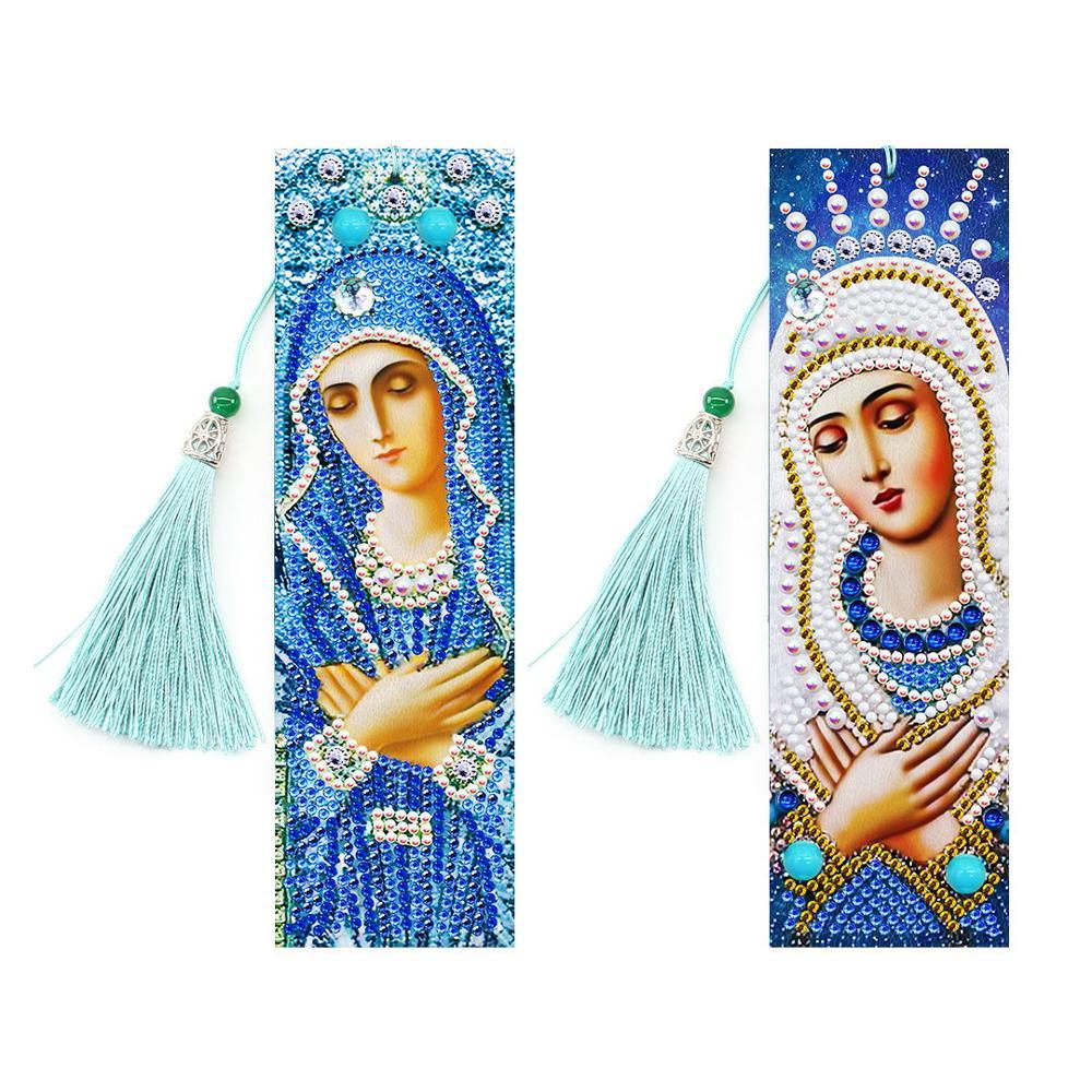 2 pçs religião estilo diamante bordado marcador 5d diy pintura diamante com borlas presente de aniversário