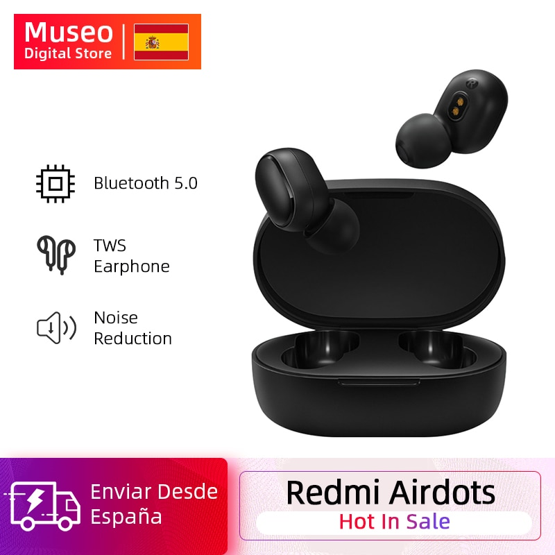 Xiaomi Redmi Airdots TWS auricular Bluetooth Estéreo bajo Bluetooth 5,0 Eeadphones con micrófono de manos libres auriculares AI Control