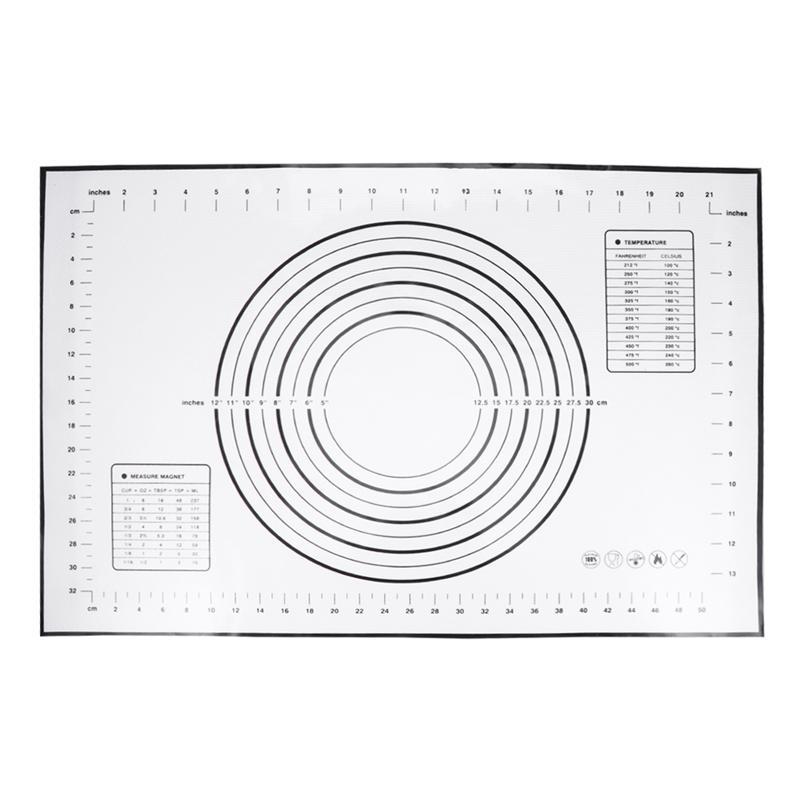 Esteira do rolamento da massa da esteira da pastelaria do silicone com medidas antiaderente não esteira do cozimento do deslizamento (60x40cm preto)