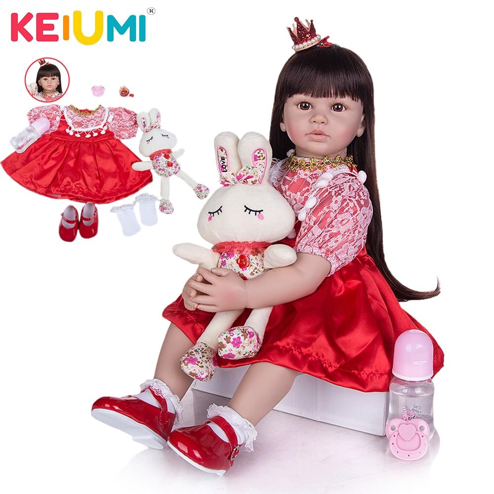 KEIUMI 24 60 cm Doll Baby Girl Reborn Soft Vinyl Princess Doll With Black Hair Bonecas Bebe Doll Red Lace Dress Kids Xmas Gift