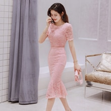 2021 Lace Pink Dress Women O-neck Elegant Evening Party Formal Mid-Calf Mermaid Empire Short Sleeve