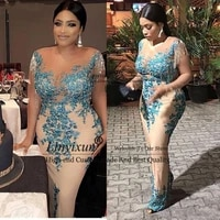 aso ebi mother of the bride dress tassel beads pearls plus size african nigerian lace sequins mermaid evening gowns sheer neck