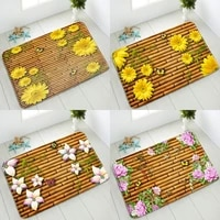 3d bamboo flowers non slip bathroom mat pink yellow floral butterfly indoor entrance doormat absorbent carpet flannel washable