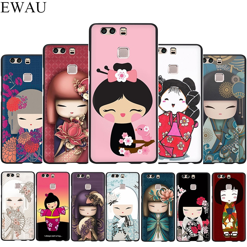EWAU kawaii japonés muñeca de Kokeshi del teléfono de silicona caso de Huawei P8 P9 P10 P20 P30 Lite Mini Pro P Smart Z Plus