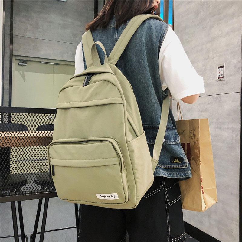 Mochila de viaje sólida impermeable para mujer mochila para escuela de Nylon Preppy mochila para portátil moda coreana informal para adolescentes mochila trasera B043
