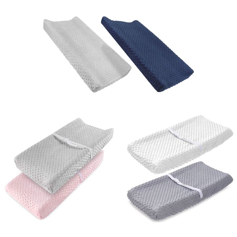 2 Pcs Soft Reusable Changing Pad Cover Minky Dot Foldable Travel Baby Breathable Diaper Pad Sheets Cover