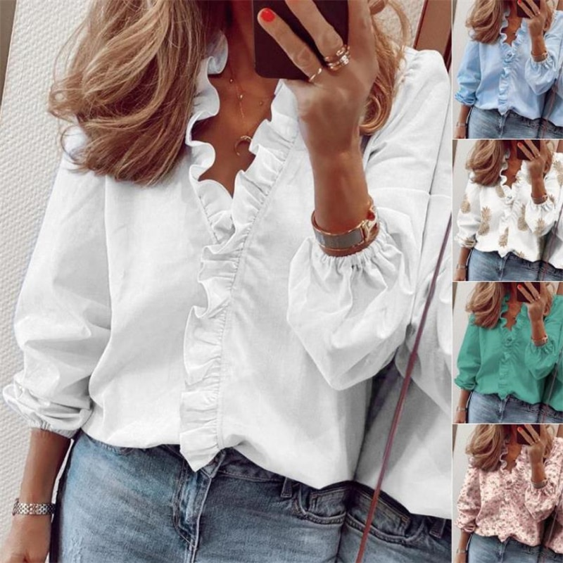 Womens Tops And Blouses Elegant Long Sleeve White Ol Shirt Ladies Solid Color Chemise Femme Blusa Fe