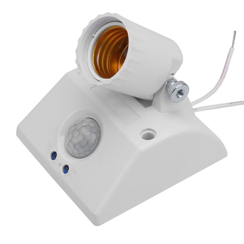 Base de lámpara E27 estándar CA 100-265V, Base de bombilla, Sensor infrarrojo IR automático, soporte de luz de pared, Detector de movimiento PIR