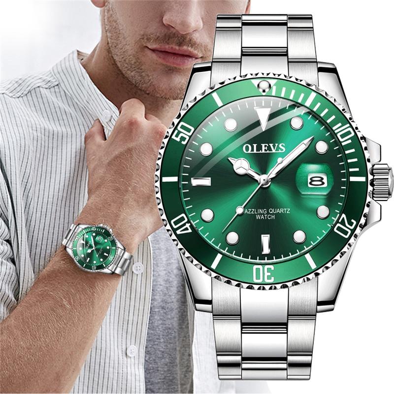 OLEVS رجالي ساعات ماركة فاخرة موضة مقاوم للماء مضيئة اليد الخضراء الهاتفي كوارتز ساعات يد رياضية هدايا للرجال