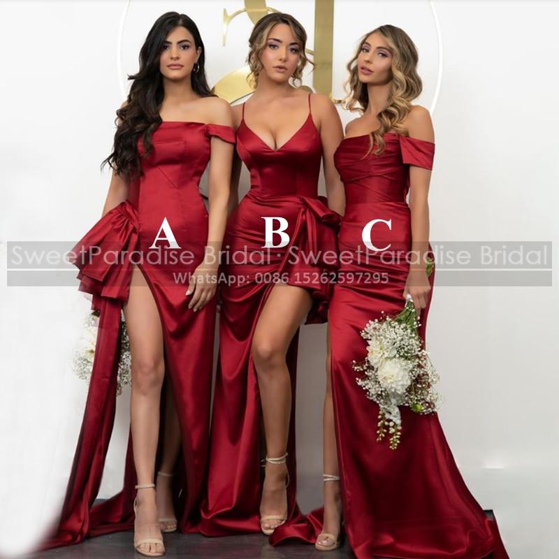 فساتين وصيفة العروس حورية البحر الأحمر مع فتحة عالية طويلة قبالة الكتف مثير المرأة البوق حفلة موسيقية فستان الزفاف