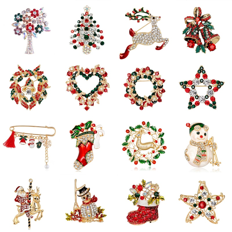 New Year Fashion Christmas Boots Brooch Santa Claus Shoes Carriage Rhinestone Brooch Jewelry For Chr