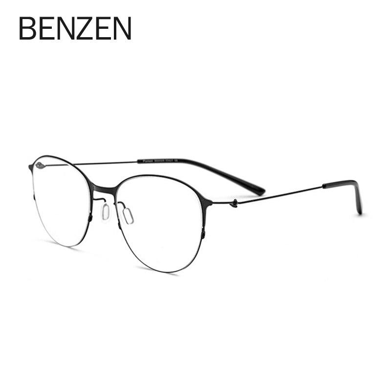 Montura de gafas de prescripción redonda BENZEN gafas de aleación de titanio para mujer monturas ópticas de miopía para hombres gafas coreanas sin tornillos