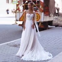 beach wedding dresses 2021 tie shoulder lace bride dress vintage plus size wedding gowns boho corset back robe de mariage