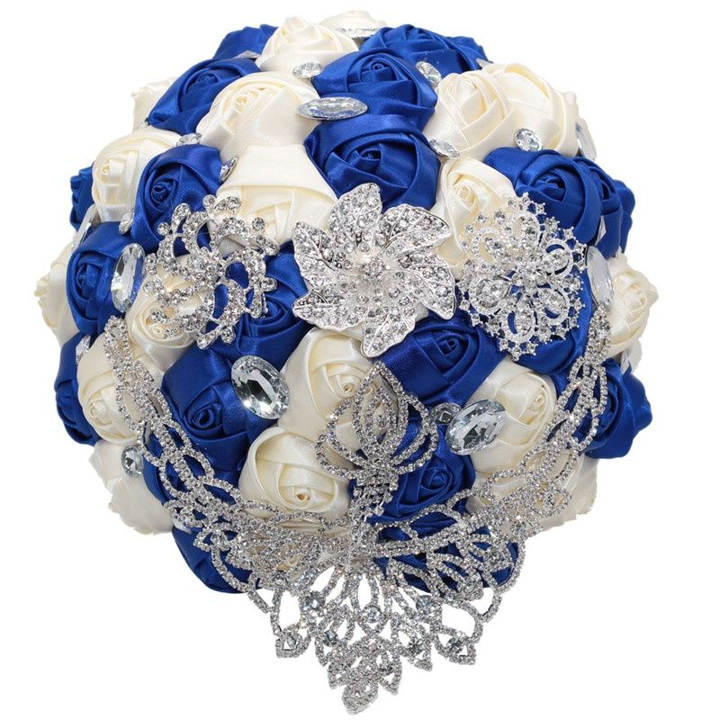 24cm Large Bridal Crystal Wedding Bouquet Silk Rose Brooch Bouquet Flowers Royal Blue Ivory ,Accept Custom W288 peorchid crystal feathers handmade wedding bouquet luxury blue bridal brooch bouquet european diamond crown flowers bouquet
