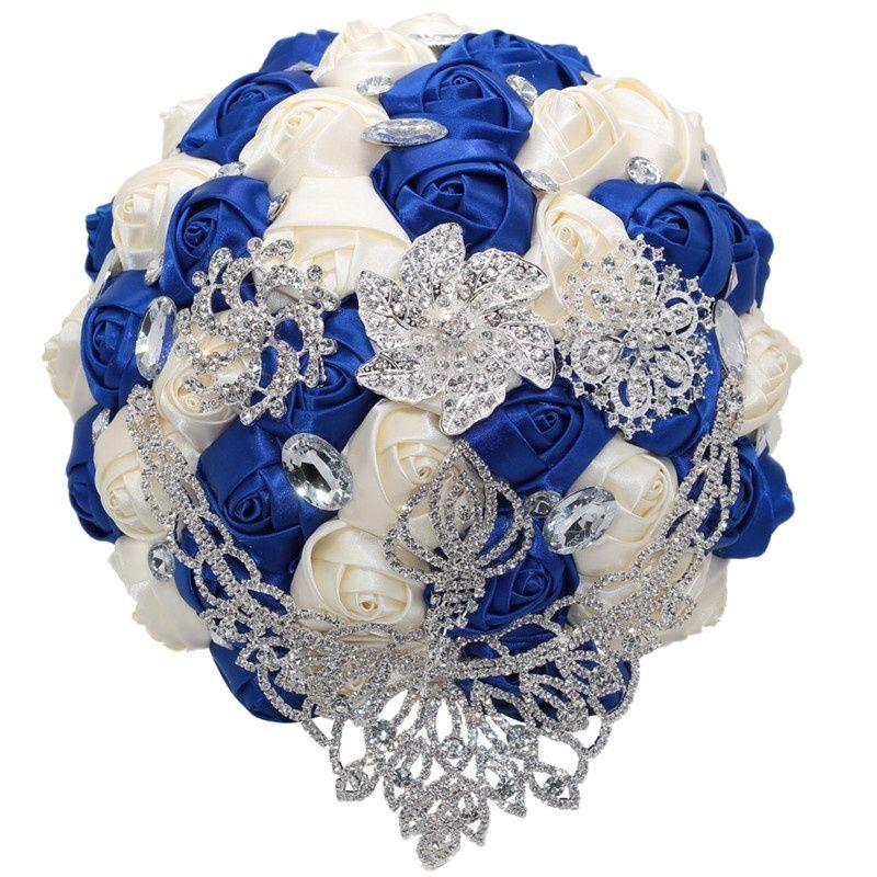 24 سنتيمتر الزفاف كبيرة كريستال باقة الزفاف الحرير ارتفع بروش باقة الزهور الأزرق الملكي العاج ، قبول مخصص W288