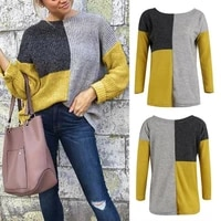 womens knit sweater colour block jumper long sleeve casual loose pullover tops