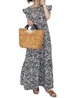 dresses for women prairie chic a line flounced edge mid calf butterfly sleeve summer dress