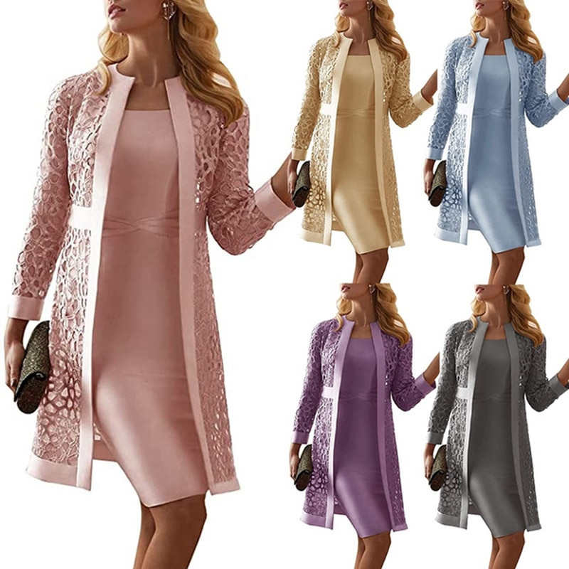 Women Mother of The Bride Dresses Long Sleeve Knee Length Jacket Formal Party Evening Gown Party Dre