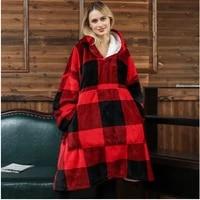 soft warm blanket plaid wearable sofa fleece hoodie blanket with sleeves winter sherpa thick plush weighted blanket sweatshirt