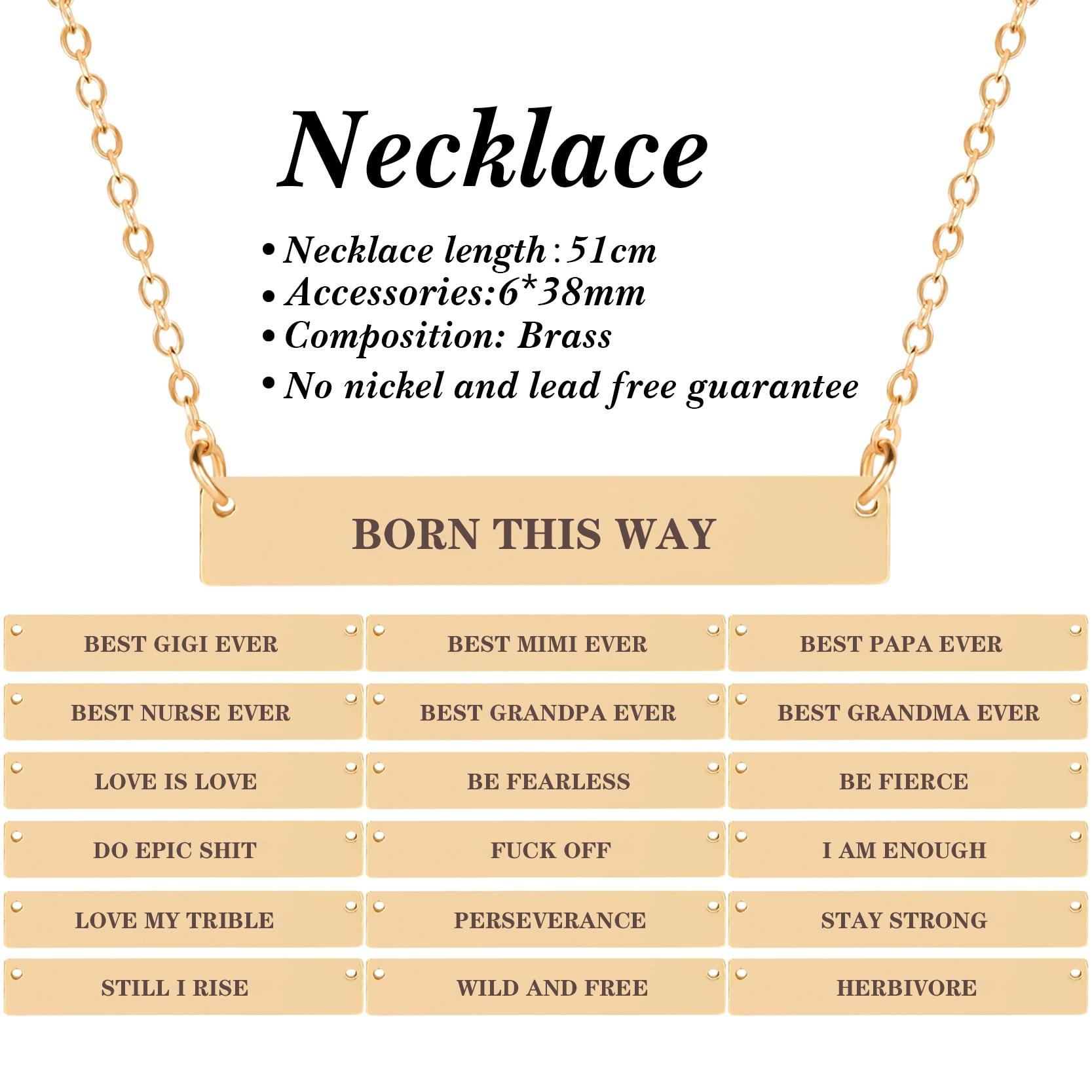 Moda grabado letra colgante collar clavícula cadena de oro encanto declaración collar cita inspiradora regalo de la joyería de las mujeres