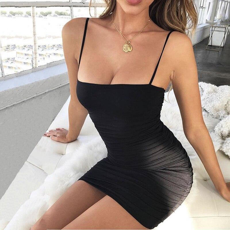 summer slip dress women sexy party dresses woman party night bodycon plus size dress bandage mini ruched spaghetti strap dress