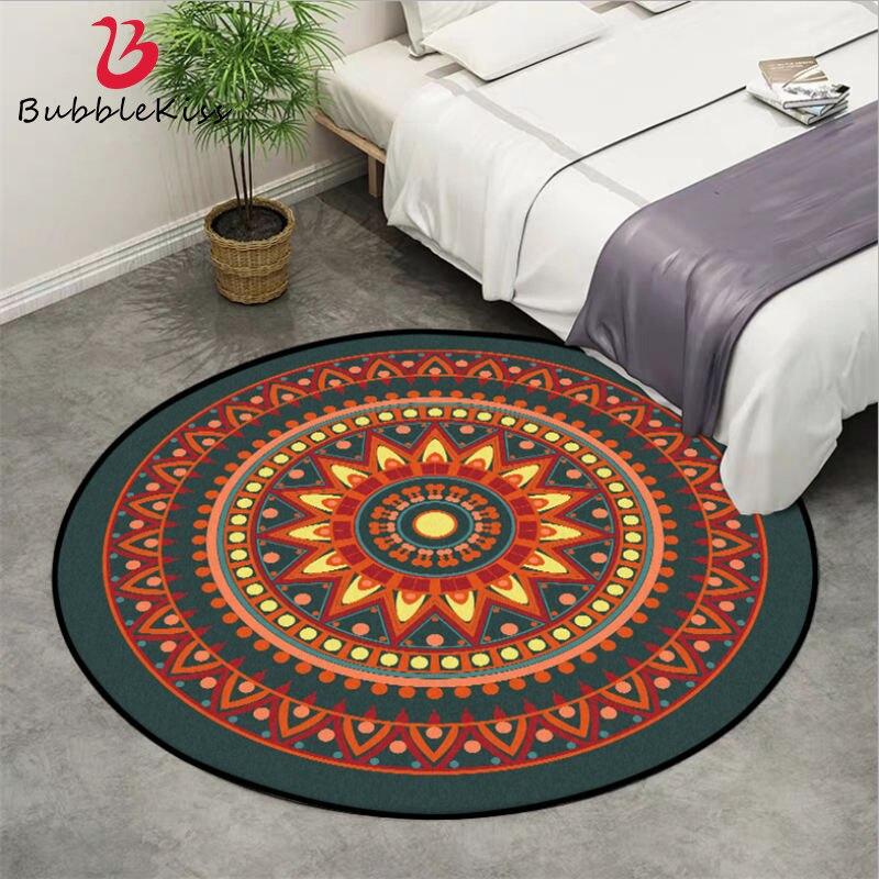 Boemia Tapetes e Carpetes para Casa Sala de estar Laranja Mandala Flor Padrão Redonda Tapete de Área Tapete para Quarto de Lavagem Mecânica