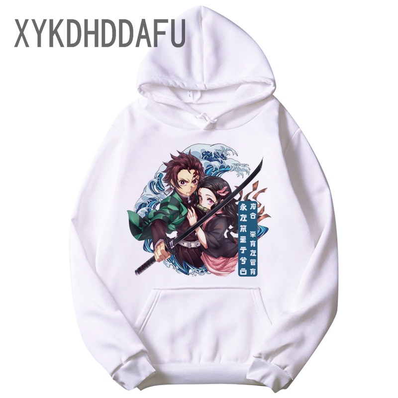 Demon Slayer Kimetsu No Yaiba mężczyźni/kobiety bluza z kapturem Unisex Harajuku Tanjiro Kamado kostium bluza z kapturem w stylu Harajuku nowy dorywczo mężczyzna/kobieta
