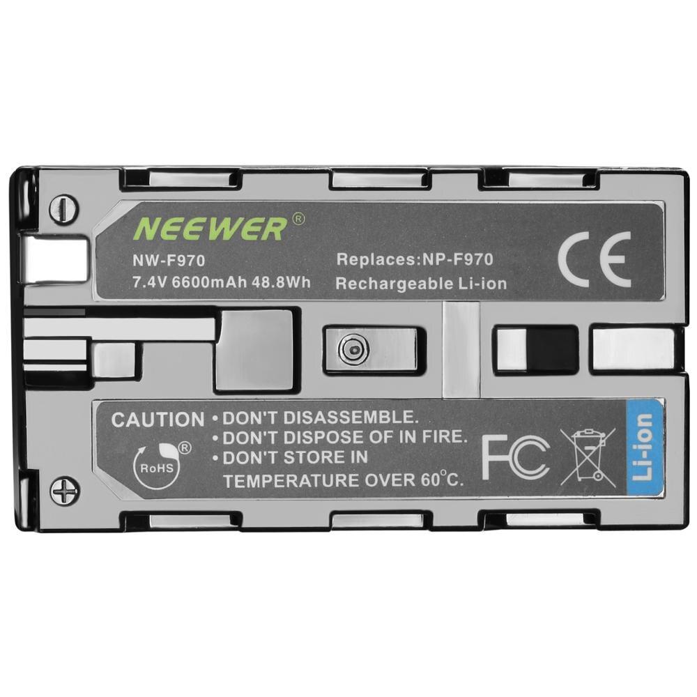 Neewer 2 قطعة 6600mAh استبدال البطارية لسوني NP-F970 ليثيوم أيون بطارية و AC الجدار شاحن ، الاتحاد الأوروبي محول و أضواء أخرى